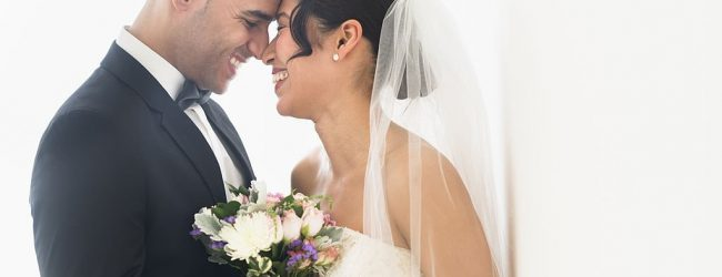 newly wed couple latina bride and groom